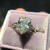 2.25ctw Vintage Pear Diamond Ring with French Cut Diamond Sidestones GIA H SI1 12