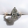 2.25ctw Vintage Pear Diamond Ring with French Cut Diamond Sidestones GIA H SI1 8