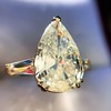 2.25ctw Vintage Pear Diamond Ring with French Cut Diamond Sidestones GIA H SI1 42