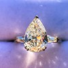 2.25ctw Vintage Pear Diamond Ring with French Cut Diamond Sidestones GIA H SI1 6