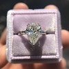 2.25ctw Vintage Pear Diamond Ring with French Cut Diamond Sidestones GIA H SI1 25