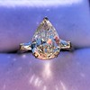 2.25ctw Vintage Pear Diamond Ring with French Cut Diamond Sidestones GIA H SI1 35