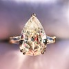 2.25ctw Vintage Pear Diamond Ring with French Cut Diamond Sidestones GIA H SI1 37