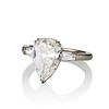 2.25ctw Vintage Pear Diamond Ring with French Cut Diamond Sidestones GIA H SI1 26