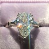 2.25ctw Vintage Pear Diamond Ring with French Cut Diamond Sidestones GIA H SI1 5