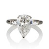 2.25ctw Vintage Pear Diamond Ring with French Cut Diamond Sidestones GIA H SI1 0