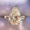 2.25ctw Vintage Pear Diamond Ring with French Cut Diamond Sidestones GIA H SI1 41
