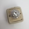 4.66ctw Old European Cut Diamond Halo Ring GIA L I1 14