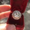 4.66ctw Old European Cut Diamond Halo Ring GIA L I1 7