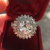 4.66ctw Old European Cut Diamond Halo Ring GIA L I1 20