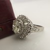 4.66ctw Old European Cut Diamond Halo Ring GIA L I1 17