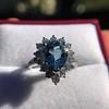 3.30ctw Aquamarine and Diamond Cluster Ring 37