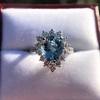 3.30ctw Aquamarine and Diamond Cluster Ring 22