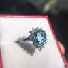 3.30ctw Aquamarine and Diamond Cluster Ring 19