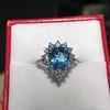3.30ctw Aquamarine and Diamond Cluster Ring 4