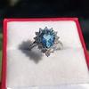 3.30ctw Aquamarine and Diamond Cluster Ring 1