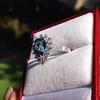 3.30ctw Aquamarine and Diamond Cluster Ring 11