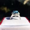 3.30ctw Aquamarine and Diamond Cluster Ring 10