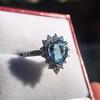 3.30ctw Aquamarine and Diamond Cluster Ring 23
