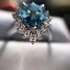 3.30ctw Aquamarine and Diamond Cluster Ring 29