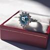 3.30ctw Aquamarine and Diamond Cluster Ring 39