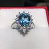3.30ctw Aquamarine and Diamond Cluster Ring 35