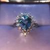 3.30ctw Aquamarine and Diamond Cluster Ring 36