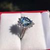 3.30ctw Aquamarine and Diamond Cluster Ring 14