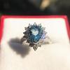 3.30ctw Aquamarine and Diamond Cluster Ring 8
