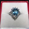 3.30ctw Aquamarine and Diamond Cluster Ring 24