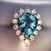 3.30ctw Aquamarine and Diamond Cluster Ring 6
