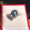 3.30ctw Aquamarine and Diamond Cluster Ring 15