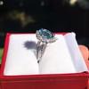 3.30ctw Aquamarine and Diamond Cluster Ring 13