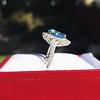 3.30ctw Aquamarine and Diamond Cluster Ring 12