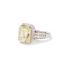 6.01ct Fancy Light Yellow Radiant Cut Diamond Halo Solitaire 1