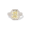 6.01ct Fancy Light Yellow Radiant Cut Diamond Halo Solitaire 0