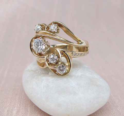 .69tcw Old European and Old Mine Cut Diamond Cocktail Ring