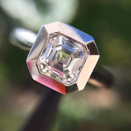 .86ct  Square Emerald Bezel Ring, Platinum, GIA L VS2