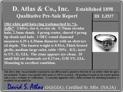 .92ct Old European Cut Diamond Halo Ring by Jaffe