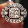 Art Deco Inspired Princess Cut Diamond Halo Ring 15