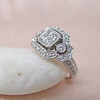 Art Deco Inspired Princess Cut Diamond Halo Ring 10