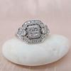 Art Deco Inspired Princess Cut Diamond Halo Ring 8
