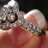 Art Deco Inspired Princess Cut Diamond Halo Ring 14