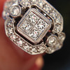 Art Deco Inspired Princess Cut Diamond Halo Ring 12