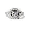 Art Deco Inspired Princess Cut Diamond Halo Ring 0
