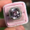 8.40ct Light Pink Purple Sapphire Halo Ring 14