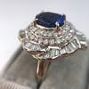 Platinum Diamond And Sapphire Triple Row Cluster Ring 25