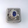 Platinum Diamond And Sapphire Triple Row Cluster Ring 5