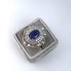 Platinum Diamond And Sapphire Triple Row Cluster Ring 13