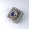Platinum Diamond And Sapphire Triple Row Cluster Ring 12